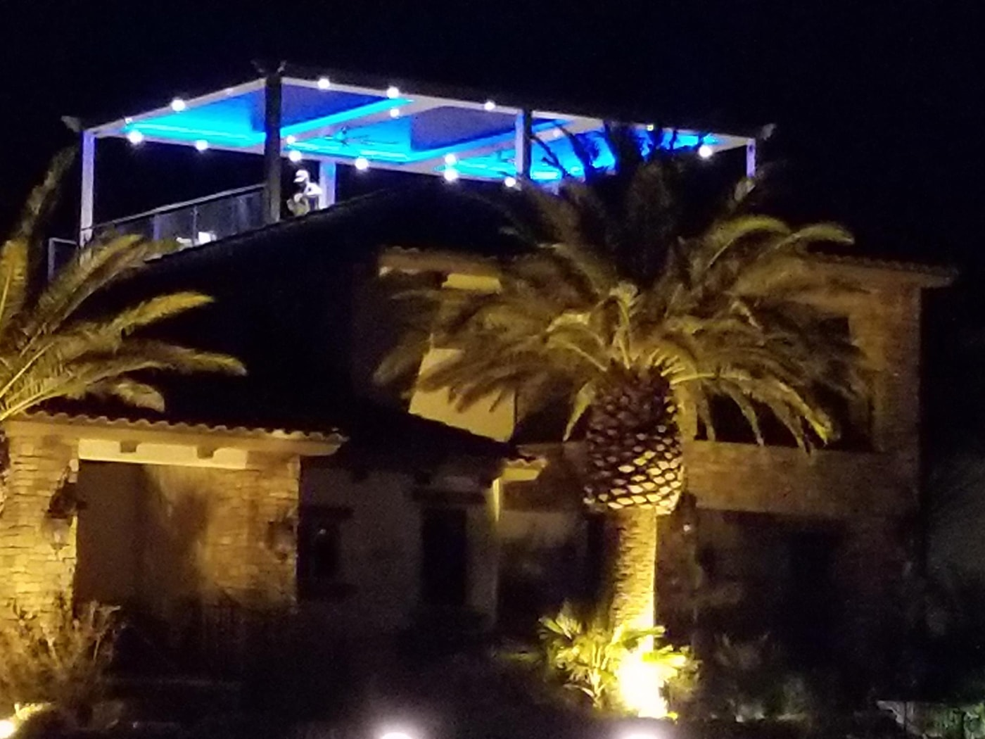 Johns With Blue Lights at Night